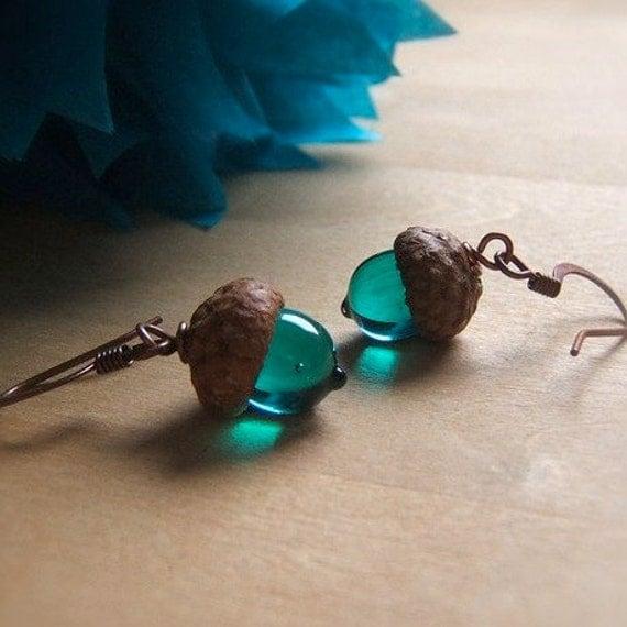 Glass Autumn Acorn Earrings - Transparent Teal by Bullseyebeads