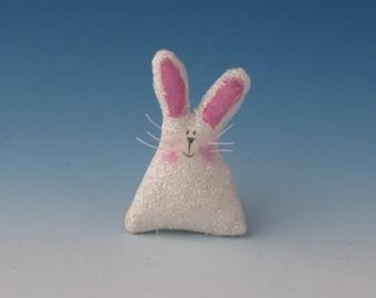 Easter Pins, Pins, Pins for Easter, Bunny, Easter Bunny Pin, Fiber Art Easter Bunny, Folk Art Bunny, White Bunny Pin