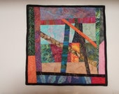 Small Art Quilt Wall Hanging Modern Improvised Piecing Strings Handmade