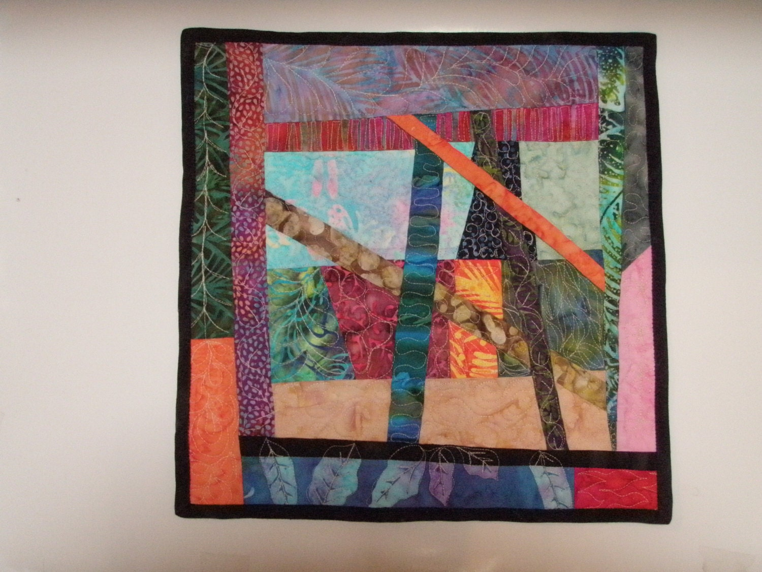 Small art quilt wall hanging modern improvised piecing strings for Small wall art