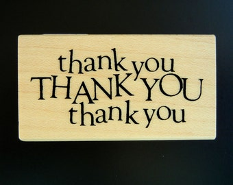 Inkadinkado THANK YOU Wood Mount Rubber Stamp