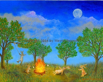 Rabbit ACEO print campfire full moon marshmallows party in the park nightlife fun Bunny ACEO