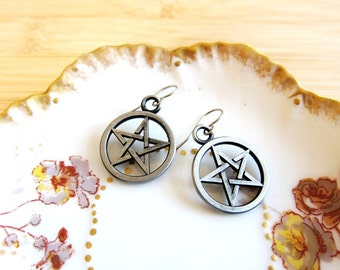 Star Pentagram Shimmery Pewter Grey Charm Earrings