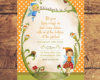 Woodland Fairy Custom birthday printable party invitation with orange polka dots