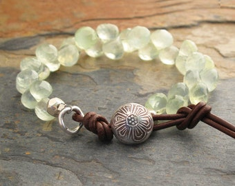 Prehnite Thai Hill Tribe Silver Leather Bracelet - Willow