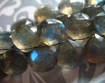 Shop Sale.. LABRADORITE Briolettes Heart Beads, Luxe AAA, 4 pcs, 9-10 mm, Gray, blue flashes neutral brides bridal something blue