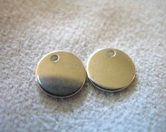 Shop Sale..2 pcs, 7 mm, Sterling Silver Blanks Discs Sequins - ROUND Circle Blanks, 20 gauge THICK - wholesale, stamped jewelry jja blank7