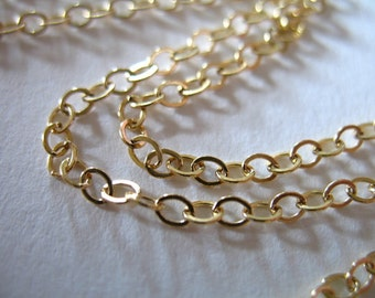Shop Sale..6 feet, 14k 14kt Gold Filled Chain, Flat Cable Jewelry Chain, 3X2.4 mm, 10-20% less wholesale medium weight MMGF.. MGF3
