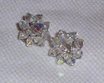 Vintage Aurora Borealis Crystal Clip On Earrings