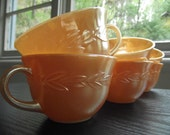 Set of Six Vintage Peach Lustre Ware Fire King Leaf Motif Cups