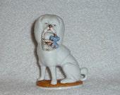 Vintage German Staffordshire Poodle Dog Porcelain Figurine Basket Blue Bow GORGEOUS