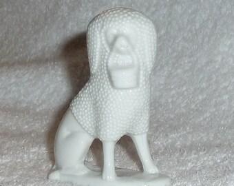Vintage German Porcelain Staffordshire Poodle Dog Miniature Figurine White Porcelain Germany