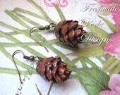 Eastern Hemlock Pine Cone Earrings