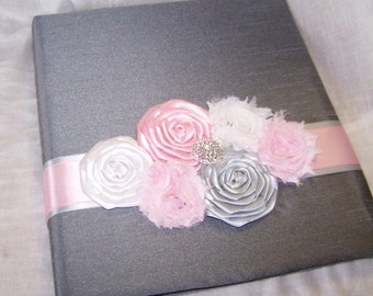 GUEST BOOK, Photo Spot, Light Pink and Gray Wedding, Blush, Silver, Shabby Flowers, Pink and Gray Guest Book, Guest Book and Pen, Custom