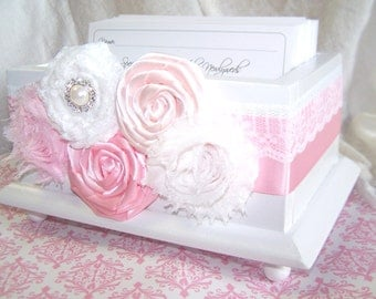 Wedding Guest Book Box - Light Pink, Blush and White Lace, White Gloss Box, Custom colors available