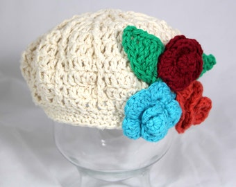 Ready to Ship Size 1-2 Year Girls Cotton Beret Hat with Flowers