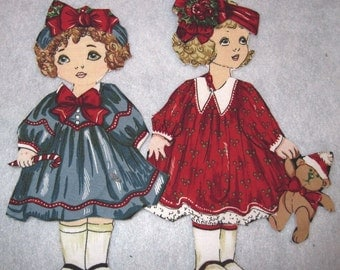Fabric paper doll dress up  party set of 2 dolls