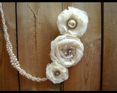 Multi-strand Fabric Flower Necklace with Braided Glass Pearl Strands