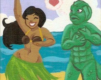 Gill Man Falls For Leila - 5x5 mini art print