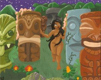 Midnight In Tiki Garden - 8x10 art print