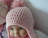 Crocheted Earflap Hat/Baby Girls/Pink/Cotton/Acrylic     READY TO SHIP    Size Newborn to 6 months