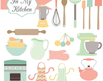 Instant Download - In My Kitchen Pastels - digital clipart and vectors- printable artwork - commercial use