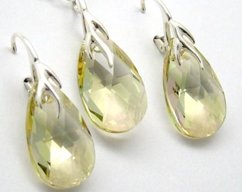 Luminous Green Jewelry Set, Swarovski Crystal Pear 22 mm Sterling 925 Yellow Green Lemon Pink Modern Necklace Earrings
