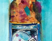 Blue Moon Beer Art Print from Original Watercolor   (Print Size - 8.5 x. 11) and (Print Size - 10 x 20)
