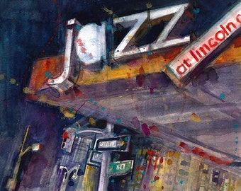 Jazz at Lincoln Center, NYC - Art Print  from Original Watercolors - Page Size 8.5 x 11