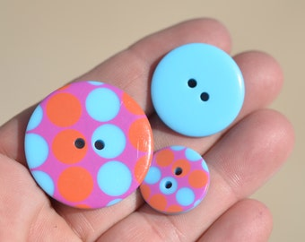 Orange, Pink and Blue Buttons  BN112
