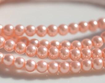 1 Strand Peach Glass Pearl Beads 4mm  BD207
