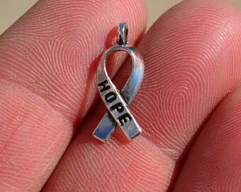 BULK 50 Silver Cancer Awareness HOPE Ribbon Charms SC1955