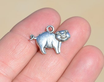 5  Silver Pig Charms SC1761