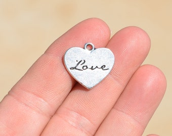 10 Silver Love Heart Charms SC1537