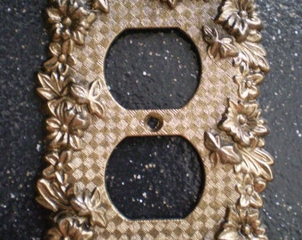 Vintage Floral Double Outlet Switch Plate