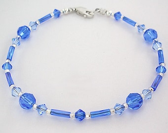 Blue Swarovski Crystal Anklet or Plus Size Ankle Bracelet - Sapphire Blue Ankle Bracelet - 9 inch to 14 inch, Small to Very Large Anklet