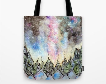 in the night sky, I found hope watercolor  ink  Tote Bag 13x13 16x16 18x18 Made to Order