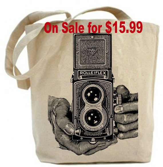 Vintage Rolleiflex Camera - Eco Friendly  Canvas Tote Bag