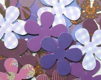 DESTASH - 25 Assorted Purple 5 Petal Flower Die Cuts