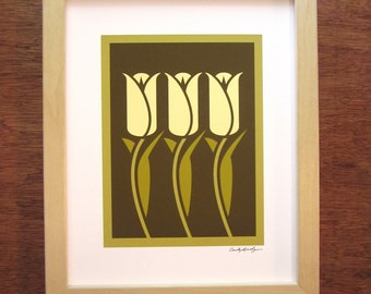 Tulip Giclee Print, Arts and Crafts Style