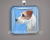 Jack Russel Terrier Dog Fine Art Glass Pendant