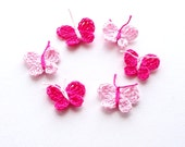 Crochet Butterfly Appliques, Embellishments Set of 6 Pink