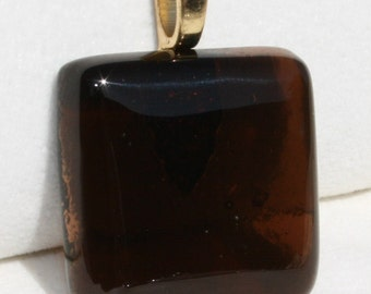 Fused Dichroic Glass Pendant - Beautiful Transparent Brown Pendant No. 0007