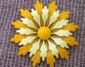 Yellow Zinnia Enamel Brooch - Vintage - Flower