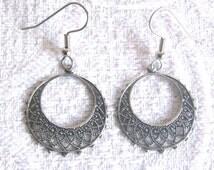 Antiqued Silver Filigree Hoop Earrings