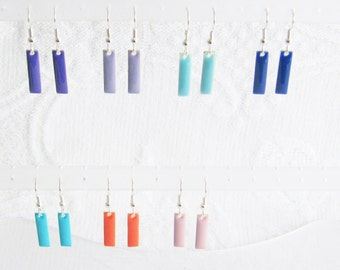 Narrow Rectangle Earrings, Choose Your Color, Pierced or Clip On