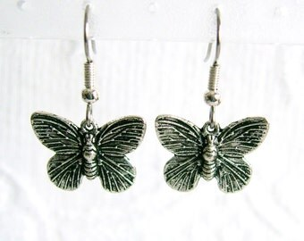 Small Antiqued Silver Butterfly Pierced or Clip on Earrings