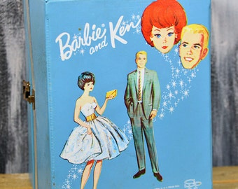 antique c. 1964 Barbie and Ken trunk...  wardrobe... pretend play...  Home Decor...  collectible... S 3 L