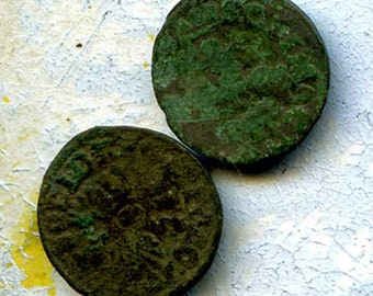 2 UNCLEANED coins from a dig,antique objects, something  curious, antique metal coin, coolvintage, collectibles, patina, old, age, 37K