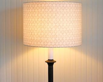 Modern Chic Drum Shade - Drum Shade -  Lampshade - Lamp Shade - Paloma Pewter - Linen Lamp Shade - Geometric - Grey Lamp Shade